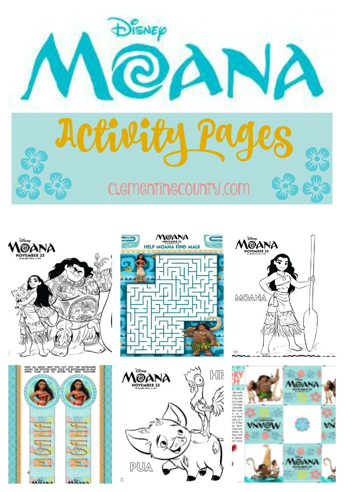 Disney S Moana Activity Pages Clementine County
