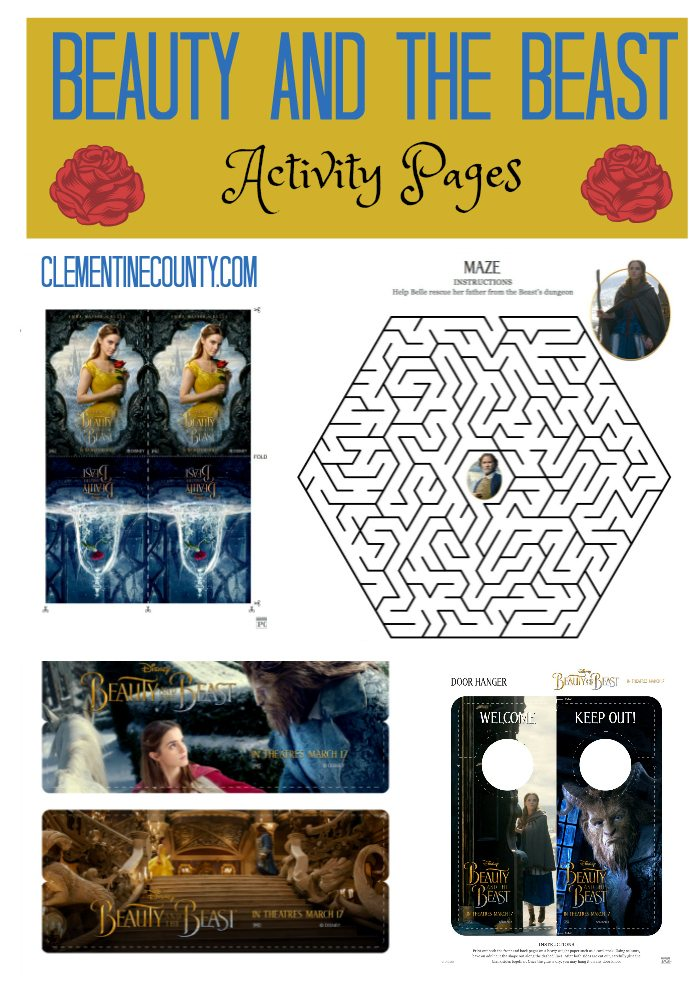 Beauty And The Beast Activity Sheets Clementine County