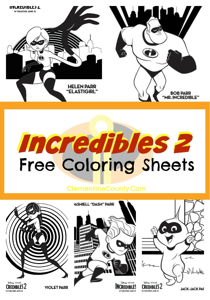 Incredibles 2 Free Coloring Sheets Clementine County