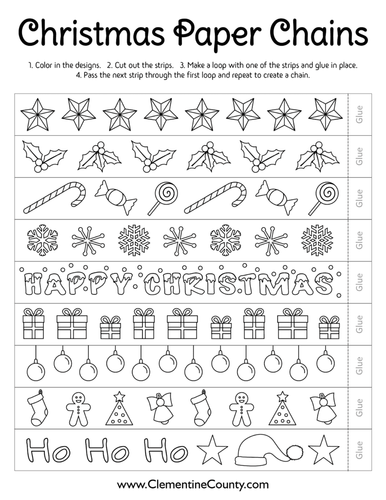 Free Printable Christmas Chains To Color Clementine County