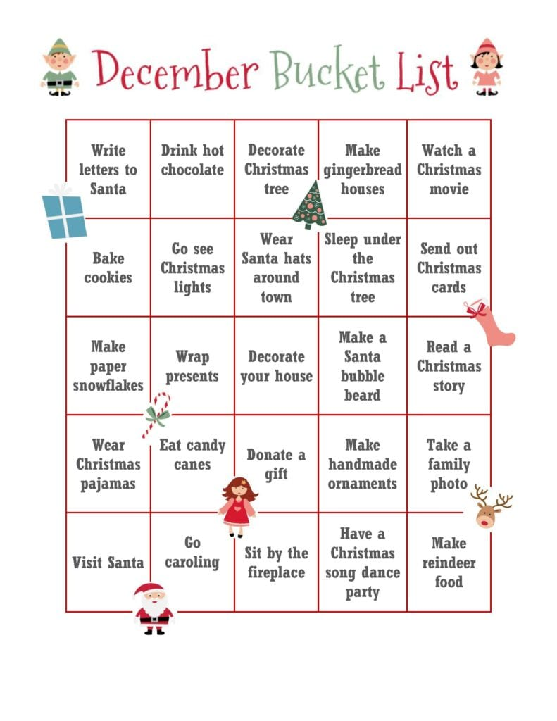 Free December Bucket List Printable Clementine County
